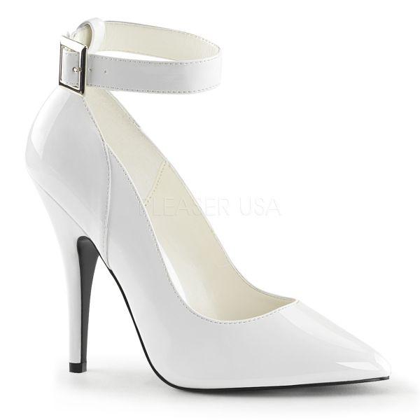 Klassische weiße Lack High Heels mit Fesselriemchen SEDUCE-431